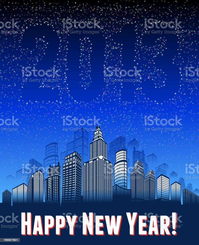 Happy New Year 2013 Holiday Background with City skyline panoramic royalty-free stock vector art