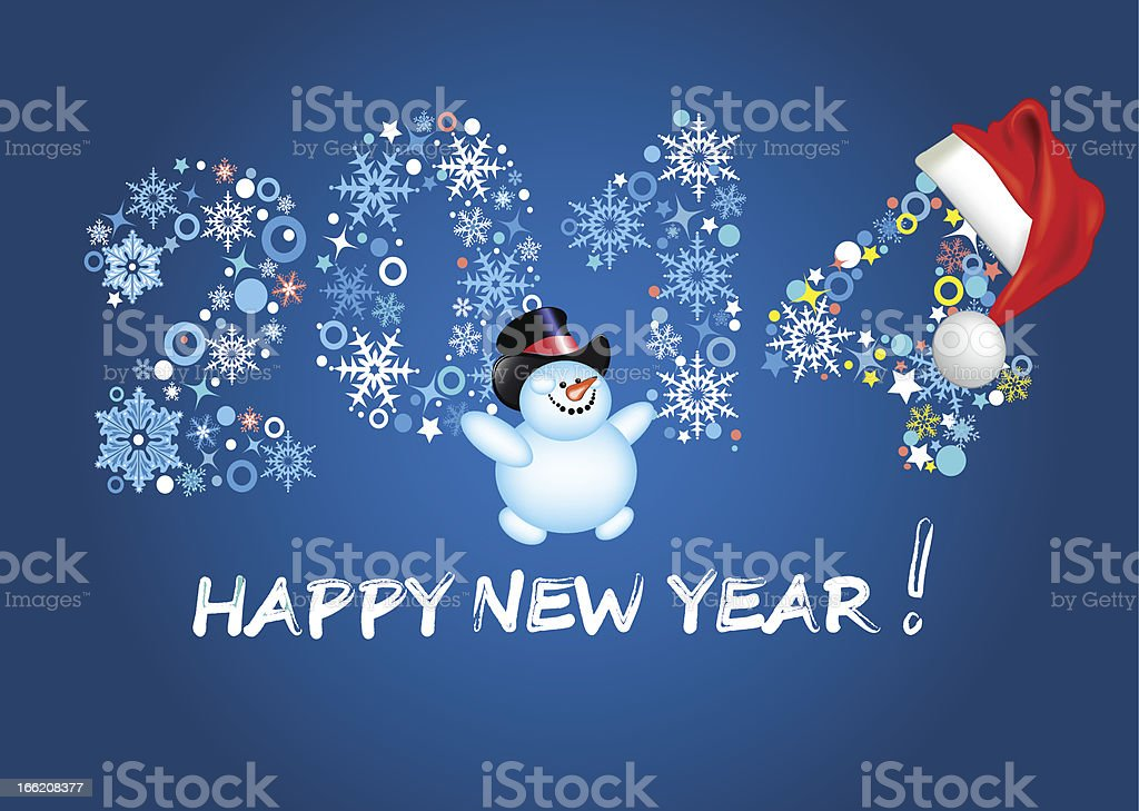 Happy new year 2014. Christmas. Blue background. royalty-free stock vector art