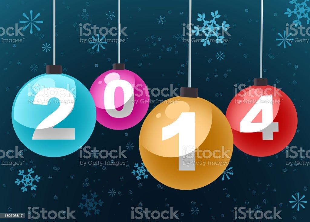 Happy New Year 2014 Christmass Tree Balls Decoration royalty-free stock vector art