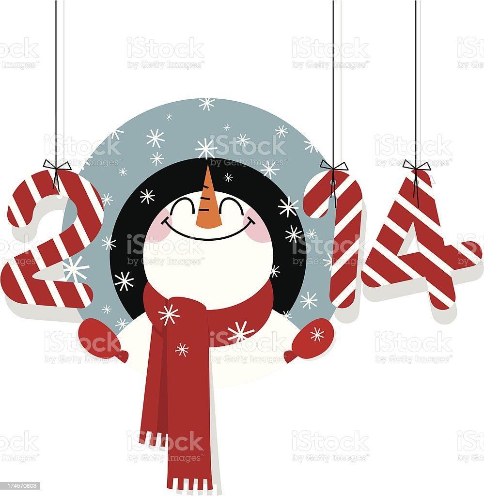 Happy new year 2014 snowman greeting retro illustration vector royalty-free stock vector art