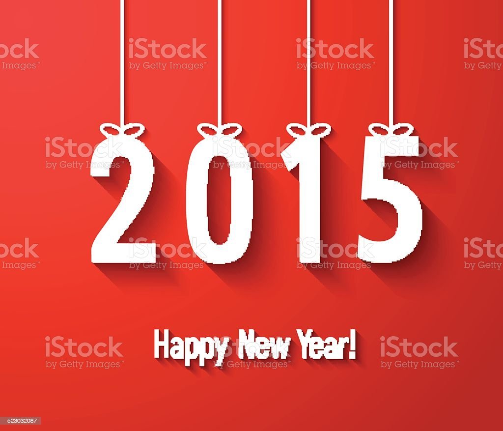 Happy New Year 2015 Creative Paper Greeting Card Stock Vector Art