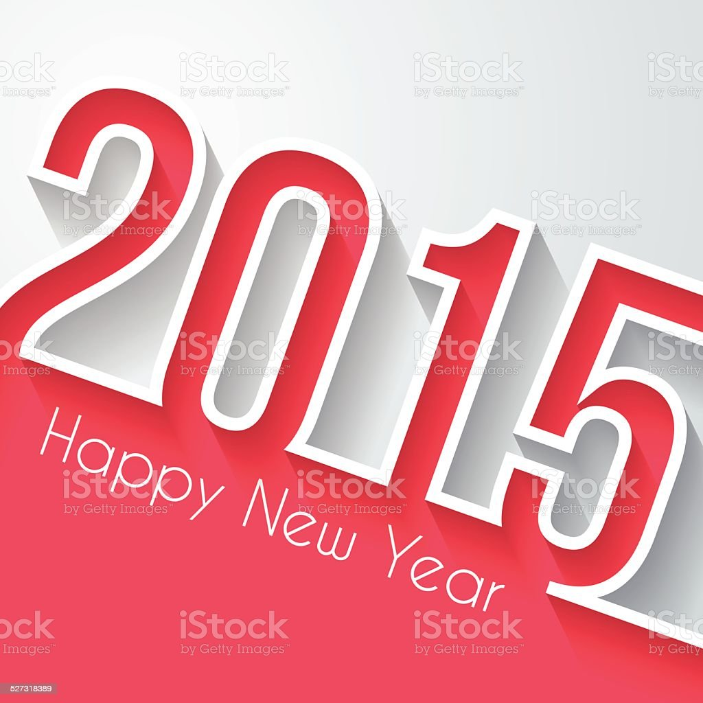 Happy New Year 2015 - Flat Design and long shadow vector art illustration