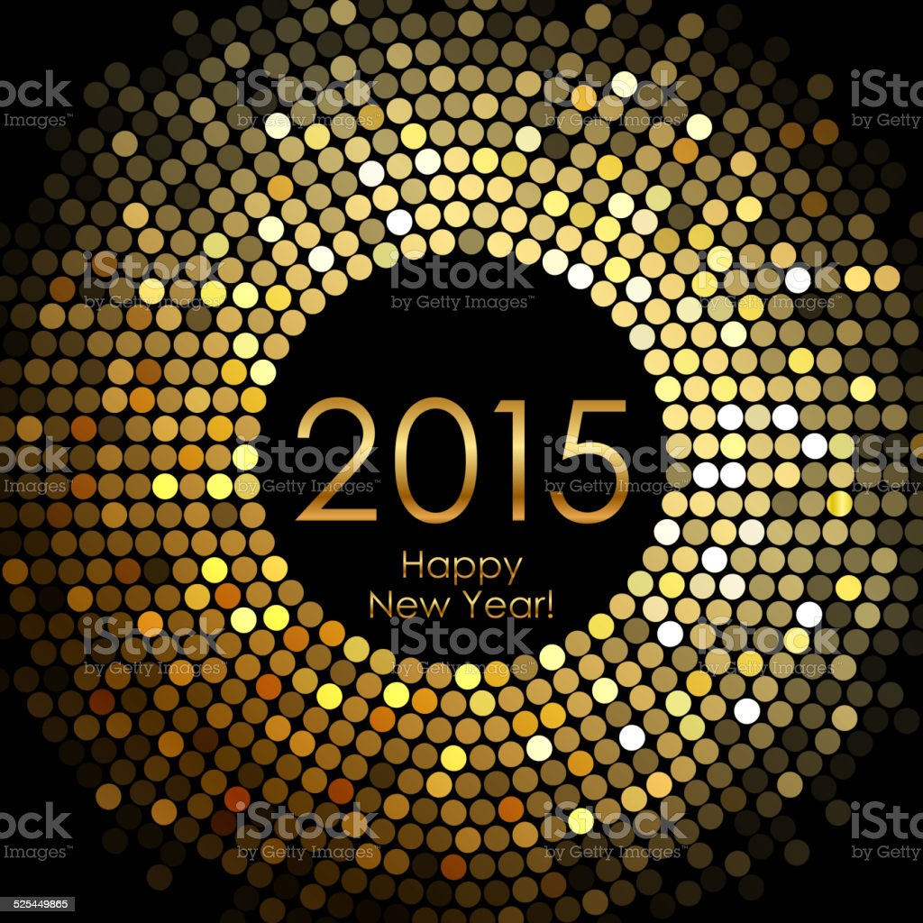 Happy New Year 2015 - gold disco lights frame vector art illustration