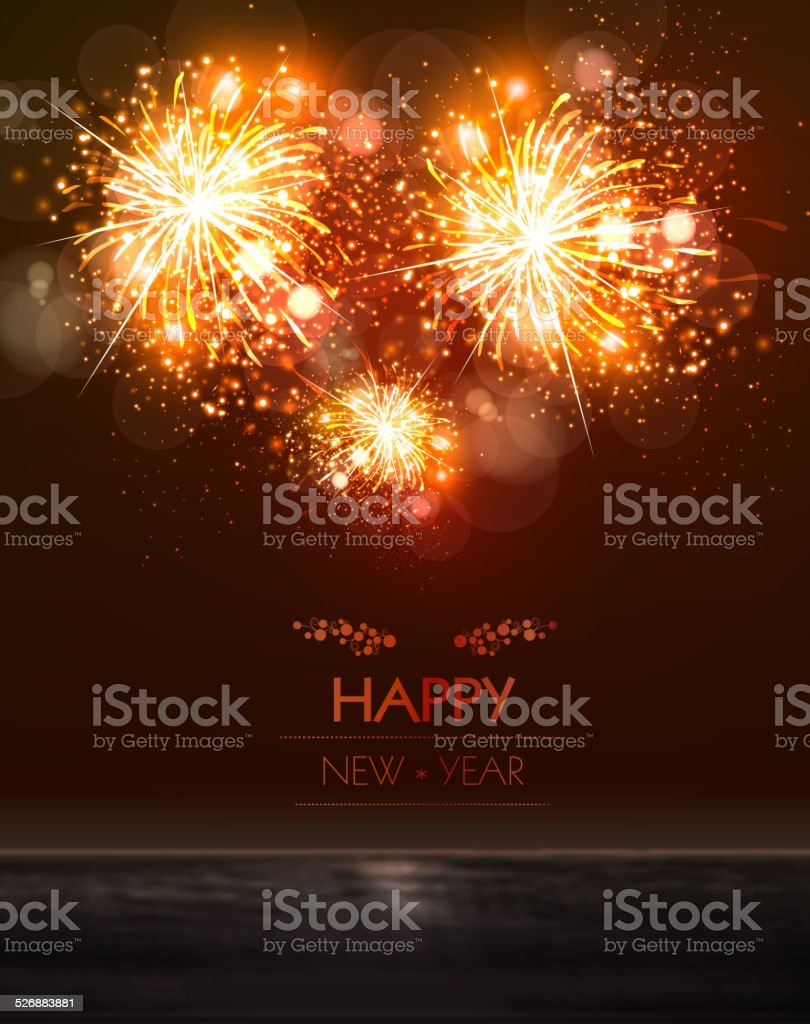 Happy New Year 2015 sky and sea fireworks concept vector art illustration