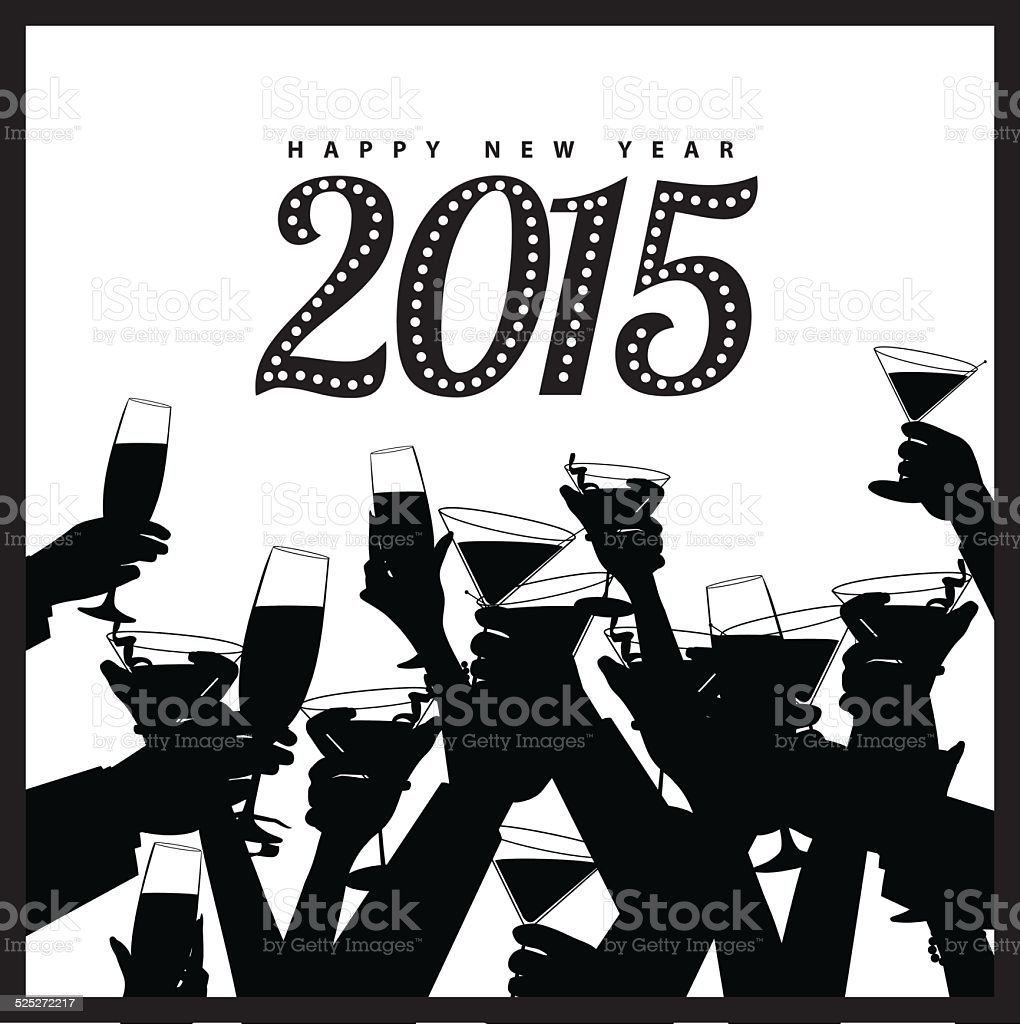Happy New Year 2015 toasting hands silhouette vector art illustration