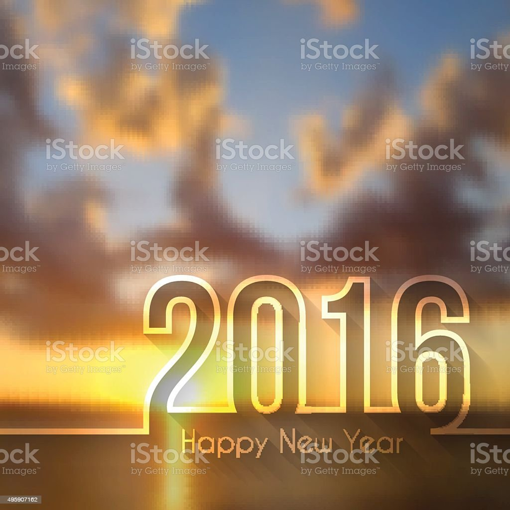 happy new year 2016 - Blurred Sunset or Sunrise vector art illustration