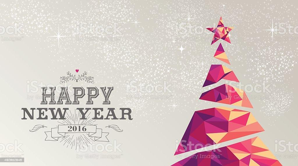 Happy new year 2016 card christmas tree triangle vector art illustration