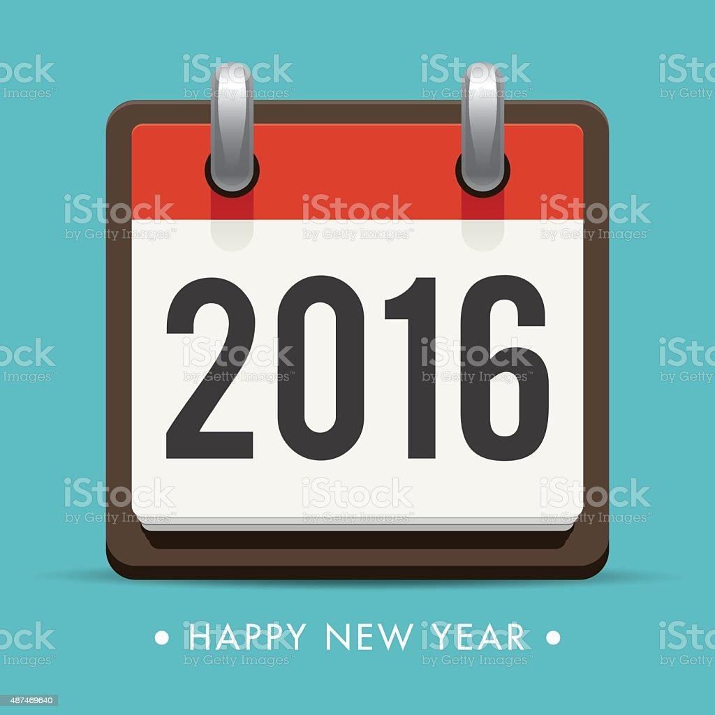 Happy new year 2016 card, retro calendar, editable vector design vector art illustration