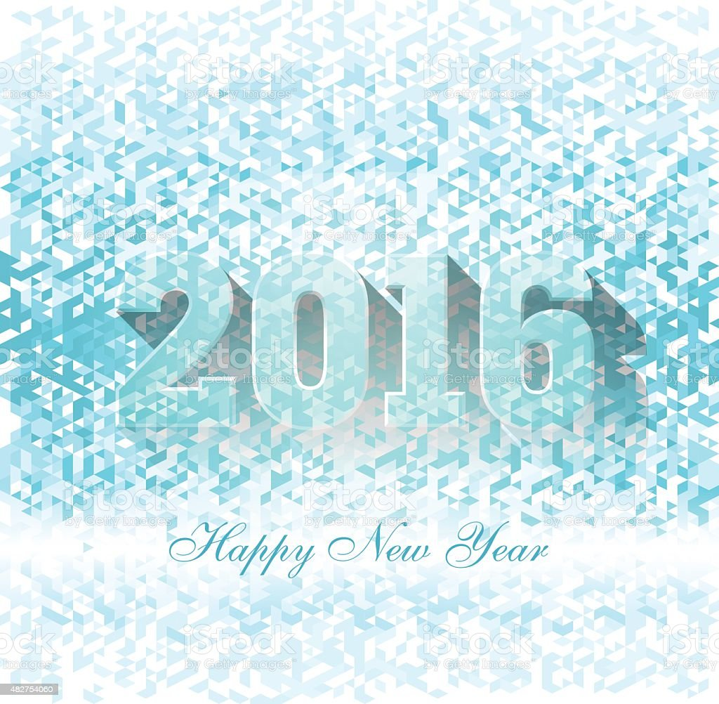 Happy new year 2016 creative greeting card vector art illustration