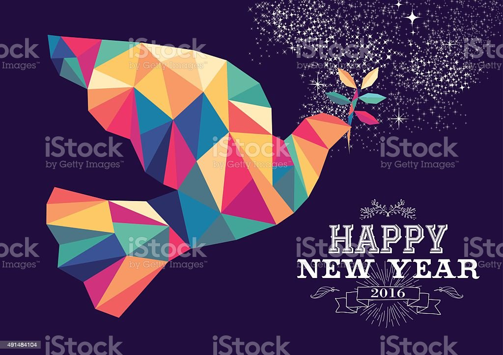 Happy new year 2016 dove triangle hipster color vector art illustration