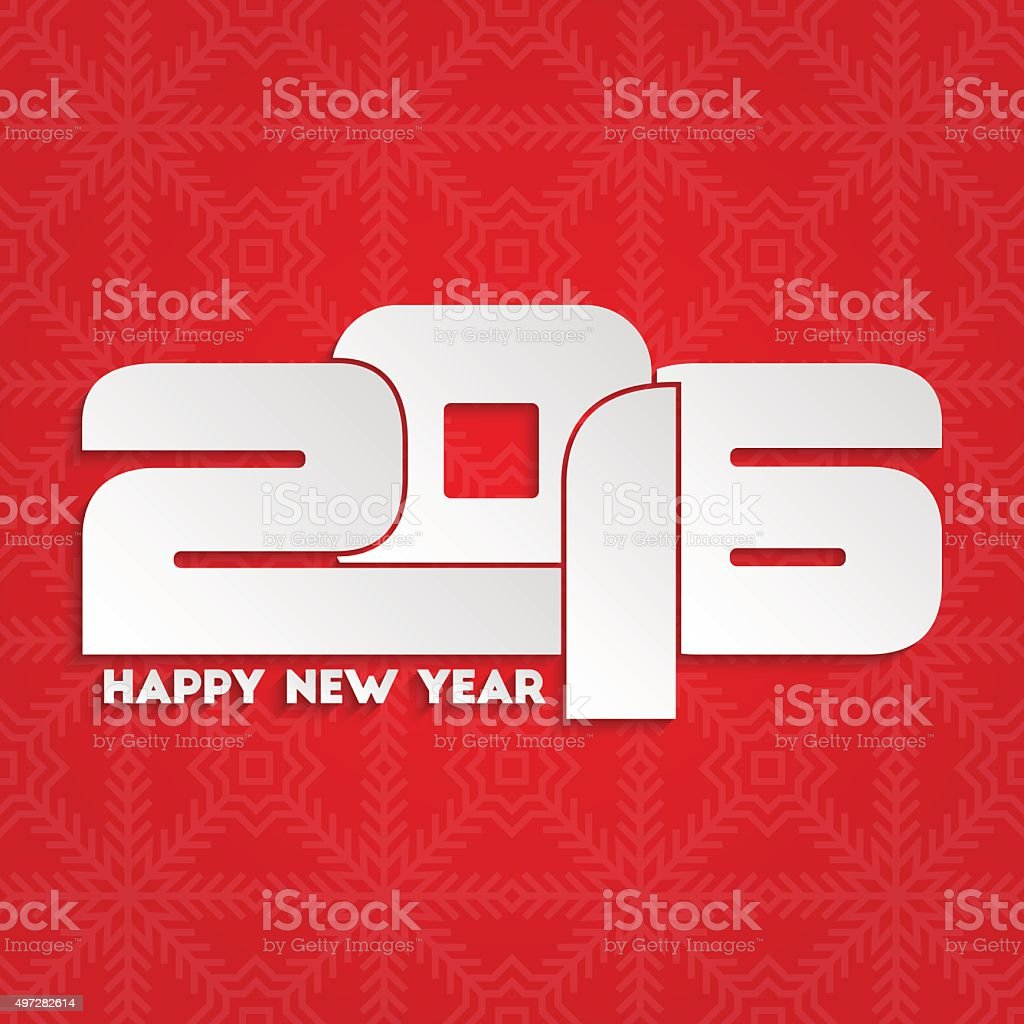 Happy new year 2016 greeting card design vector art illustration