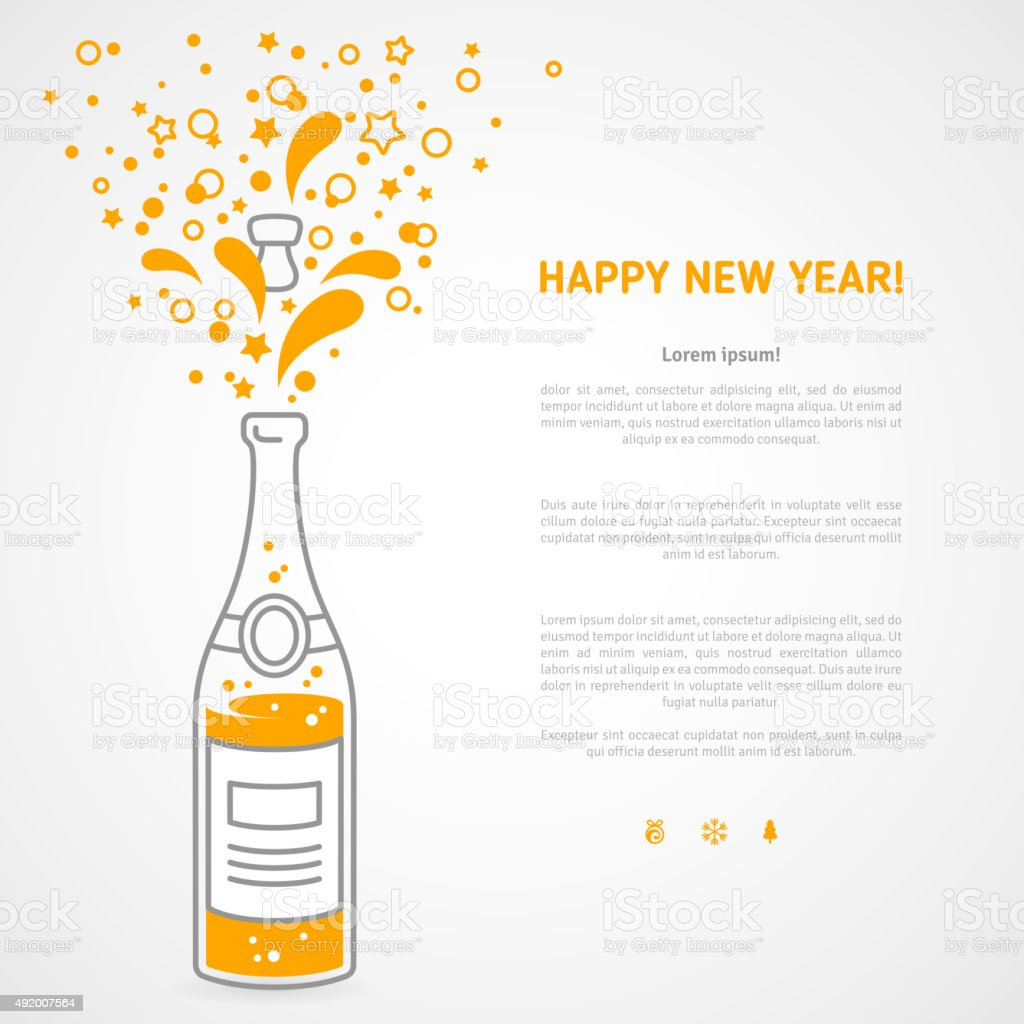 Happy new year 2016 greeting card with flat champagne  bottle vector art illustration