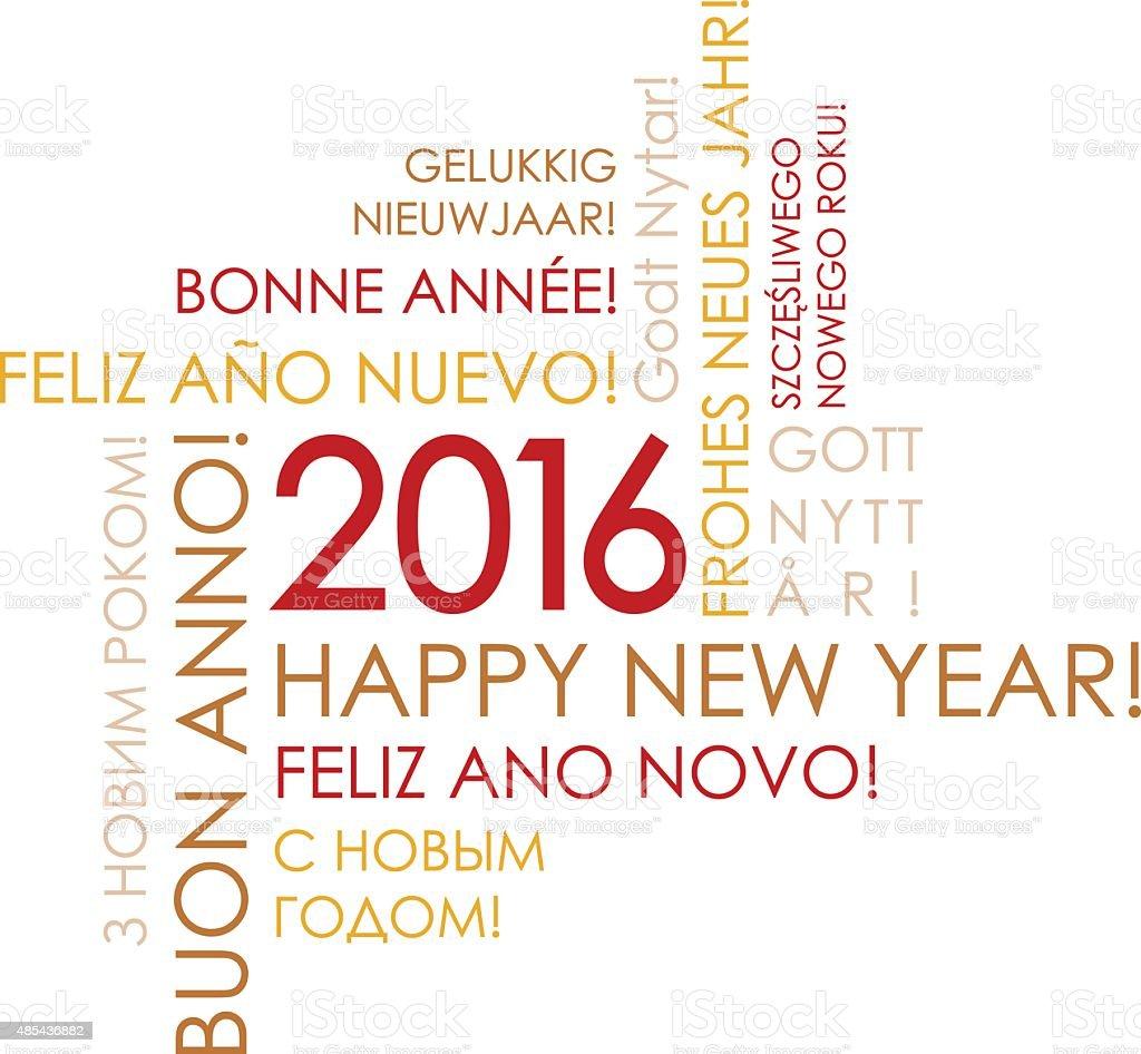 Happy New Year 2016 - International Greeteng Card vector art illustration
