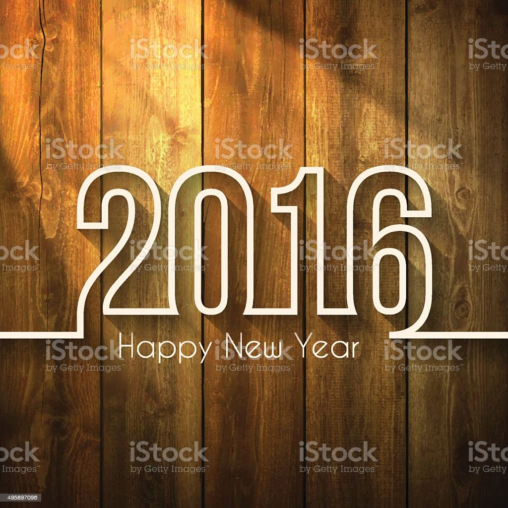 Happy New Year 2016 - on Wooden Background vector art illustration
