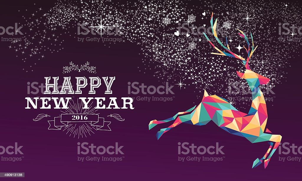 Happy new year 2016 reindeer color triangle vector art illustration