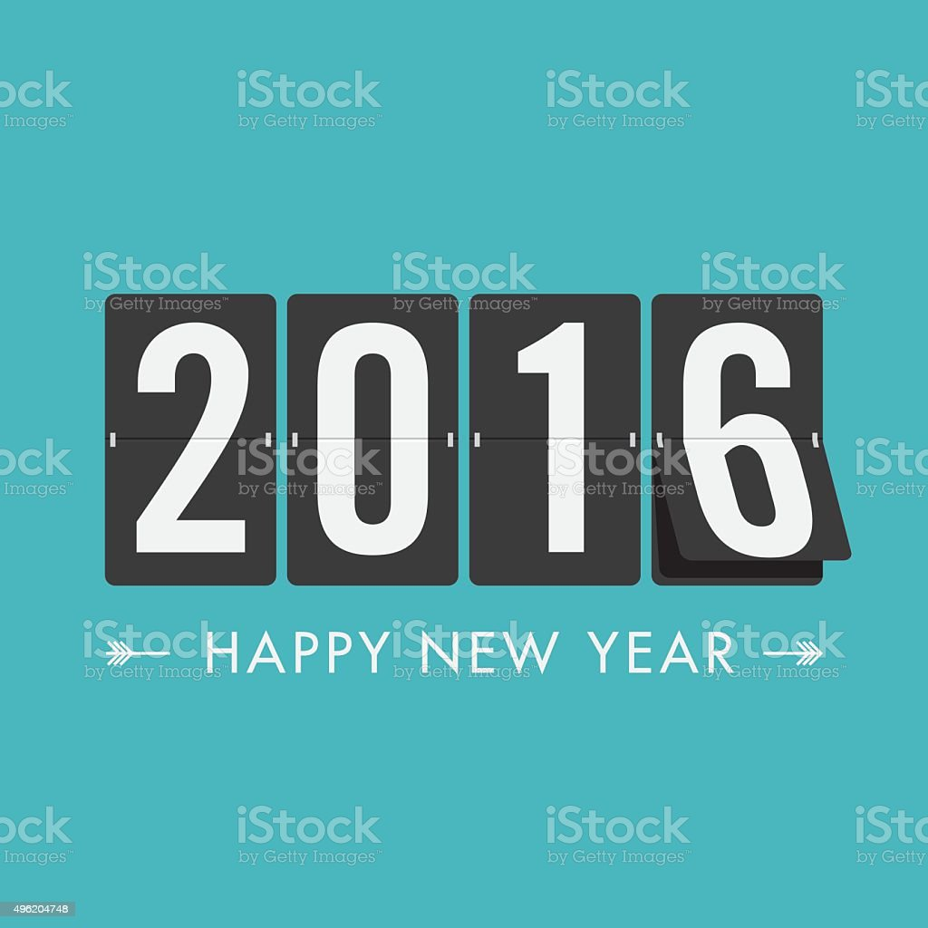 Happy new year 2016 timetabl, blue green background vector art illustration