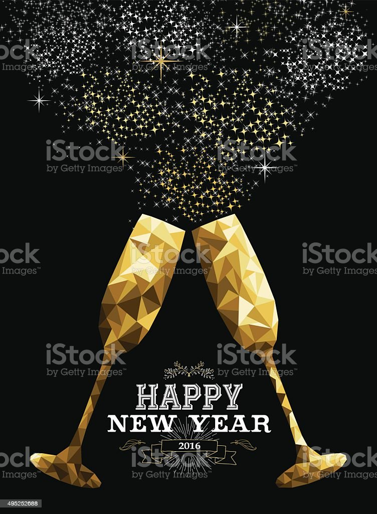 Happy new year 2016 toast glass low polygon gold vector art illustration