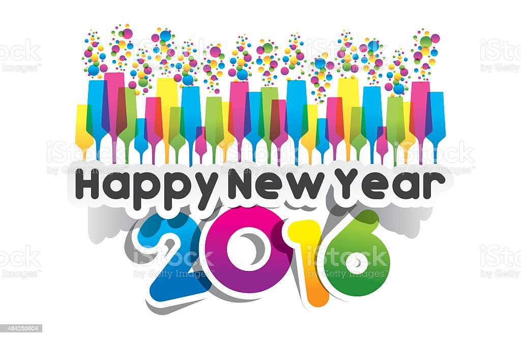 Happy new year 2016 vector art illustration