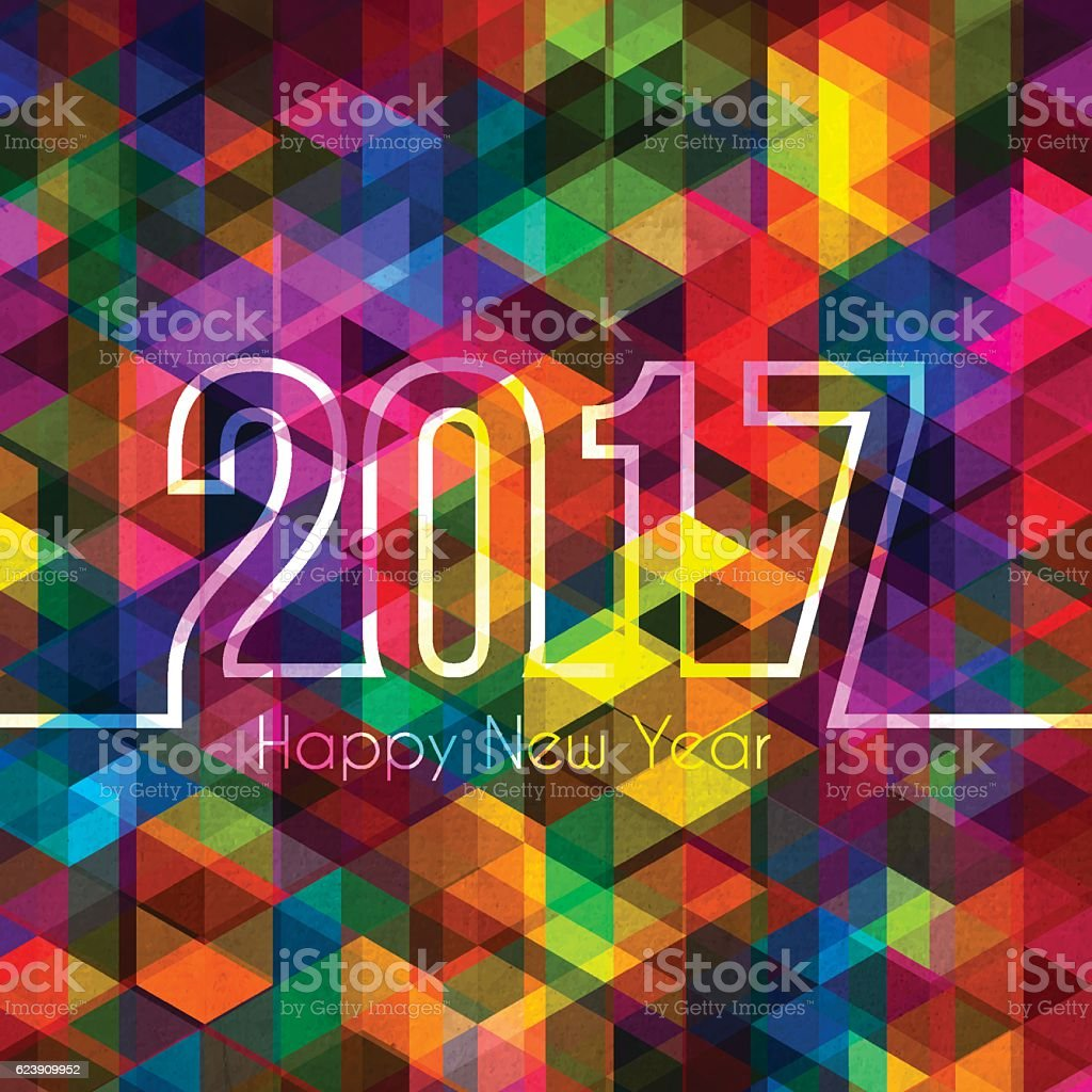happy new year 2017 - Abstract Geometric Background vector art illustration