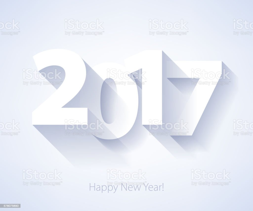 Happy New Year 2017 background. Calendar design typography vector...