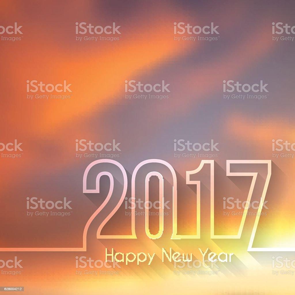 happy new year 2017 - Beautiful Sky vector art illustration