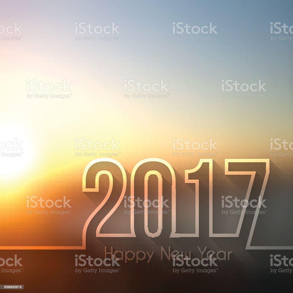 happy new year 2017 - Blurred Sunset or Sunrise vector art illustration