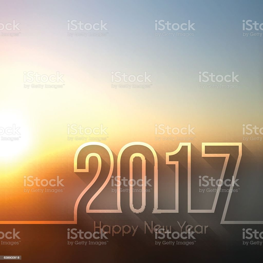 happy new year 2017 - Blurred Sunset or Sunrise vector art illustration