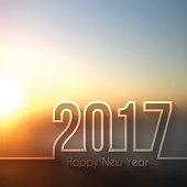 happy new year 2017 - Blurred Sunset or Sunrise