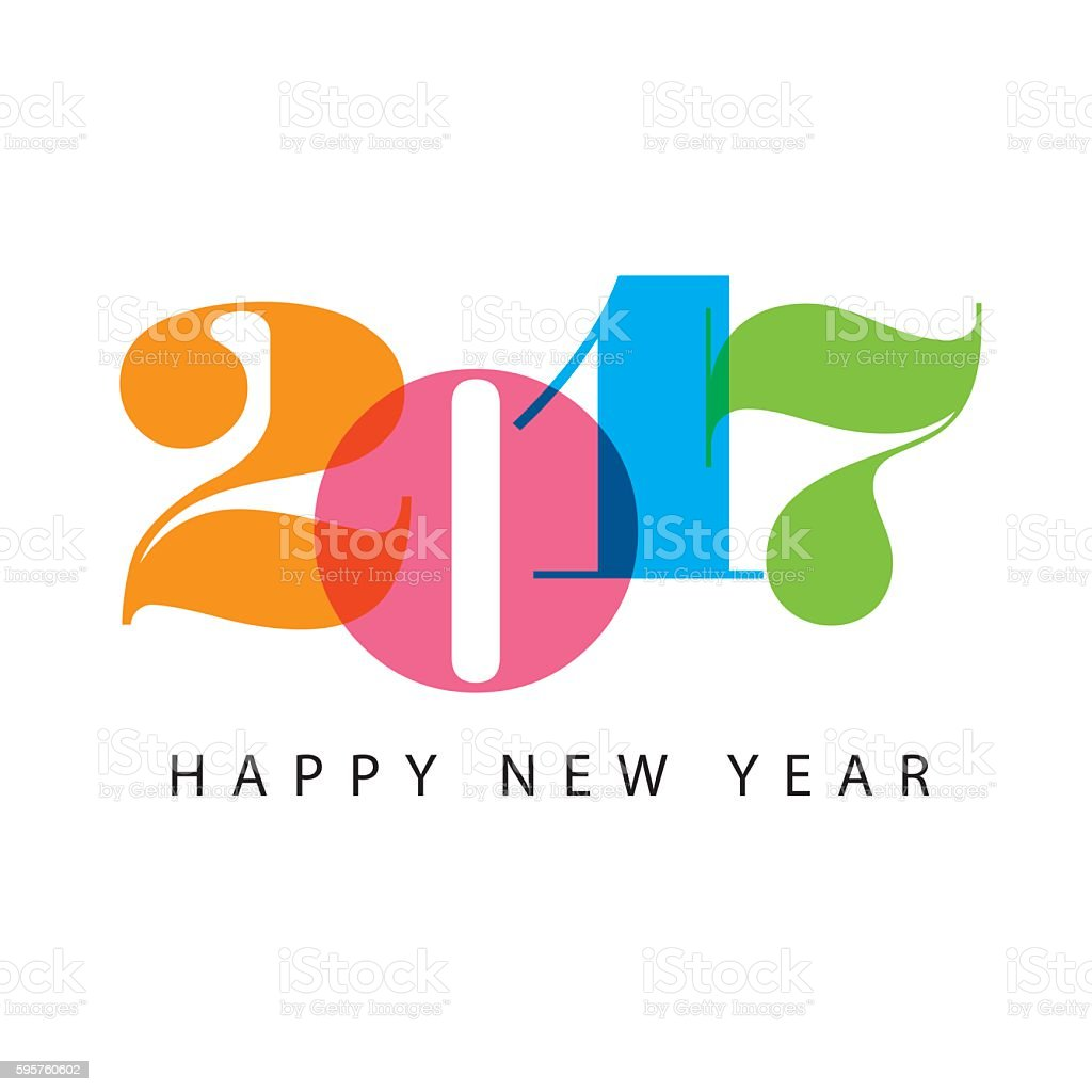 Happy new year 2017 card, numbers font. vector art illustration