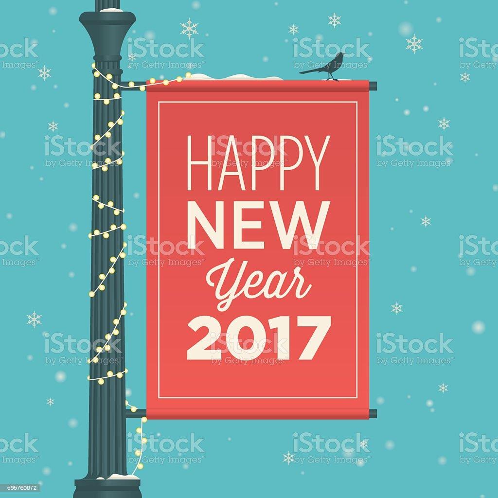 Happy new year 2017 card, street sign. vector art illustration