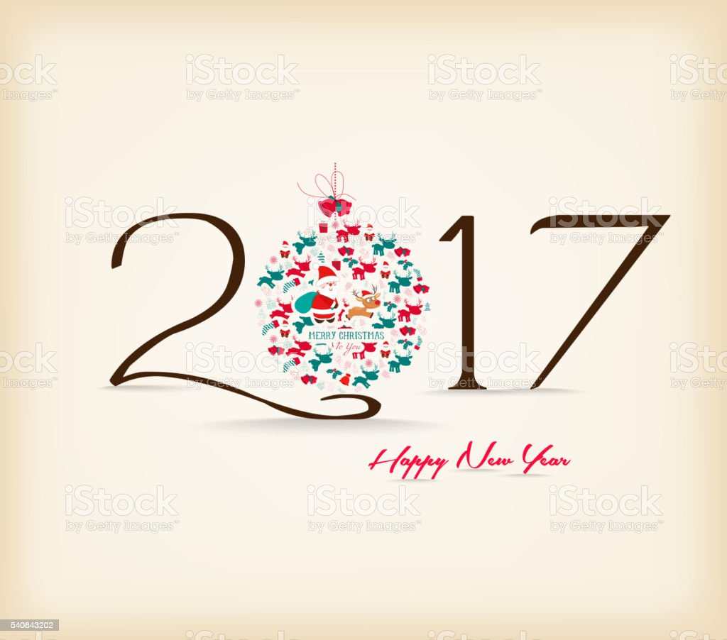 Happy New Year 201̀7 celebration background vector art illustration