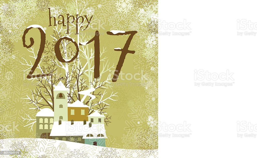 Happy new year 2017 christmas card landscape winter card vintage vector art illustration