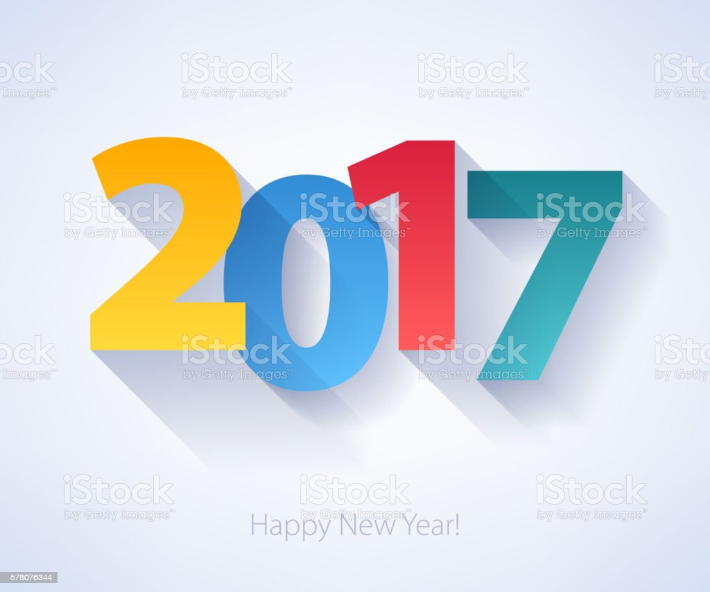 Happy New Year 2017 colorful background. vector art illustration