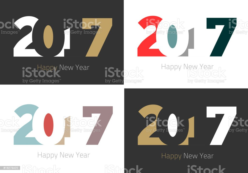 Happy New Year 2017 design collection vector art illustration