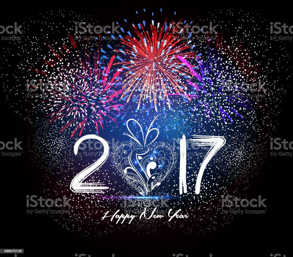 Happy New Year 2017 Firework vector art illustration
