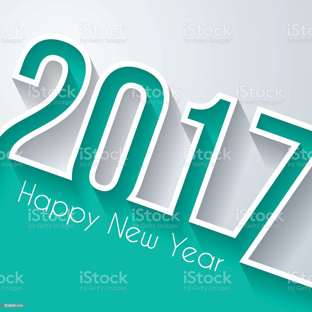 happy new year 2017 - Flat Design and long shadow vector art illustration