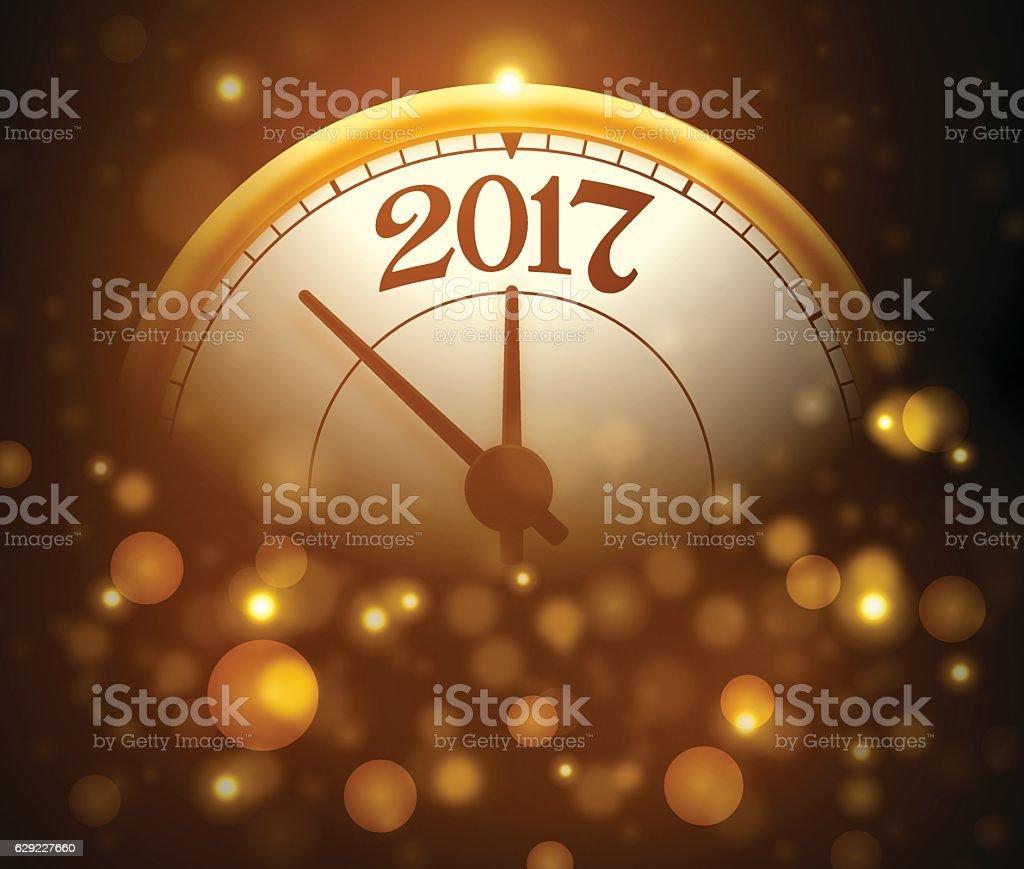 Happy New Year 2017 Gold Clock vector art illustration