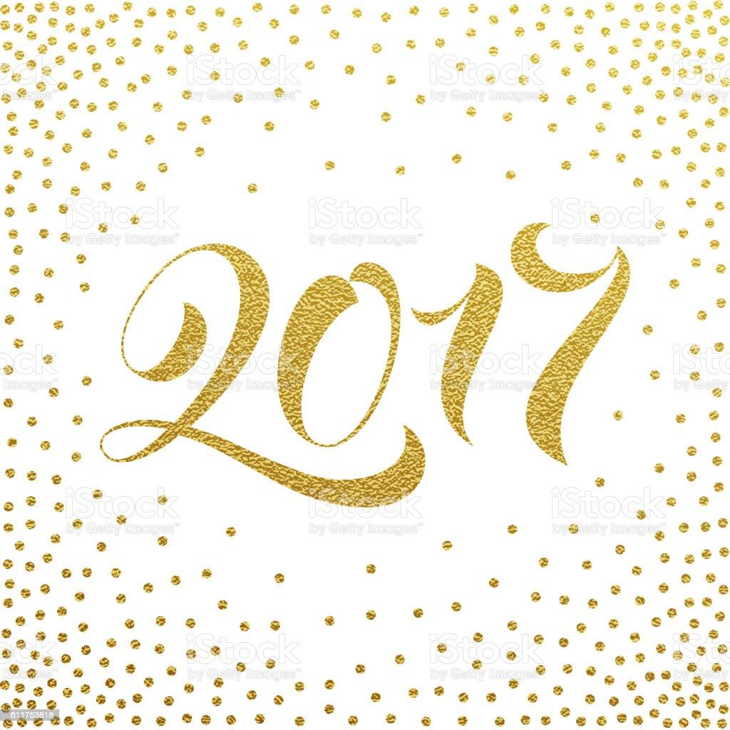Happy New Year 2017 gold glitter greeting card vector art illustration