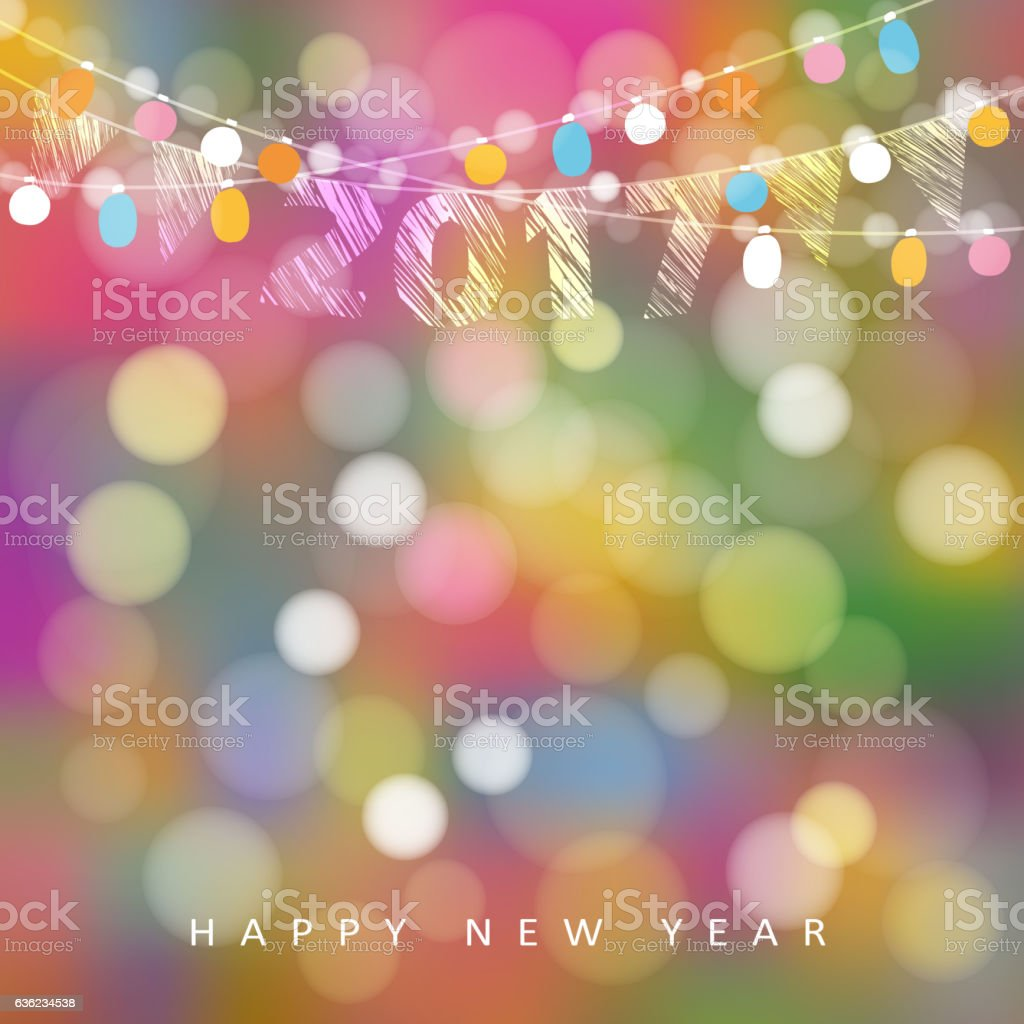 Happy new year 2017 greeting card. String of lights, flags. vector art illustration