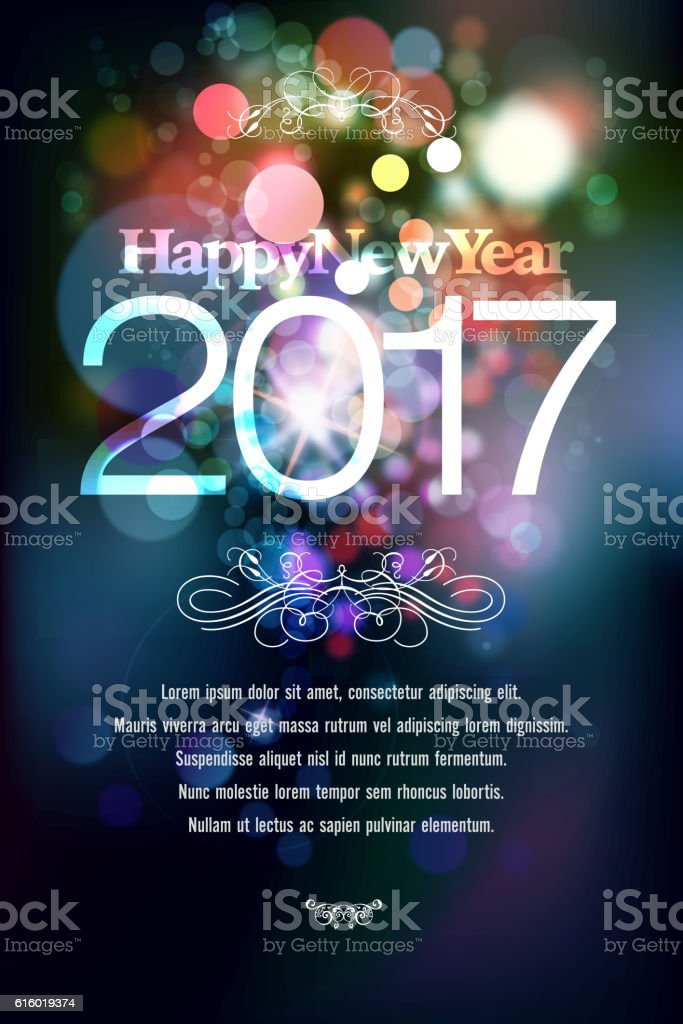 Happy New Year 2017 Greetings vector art illustration