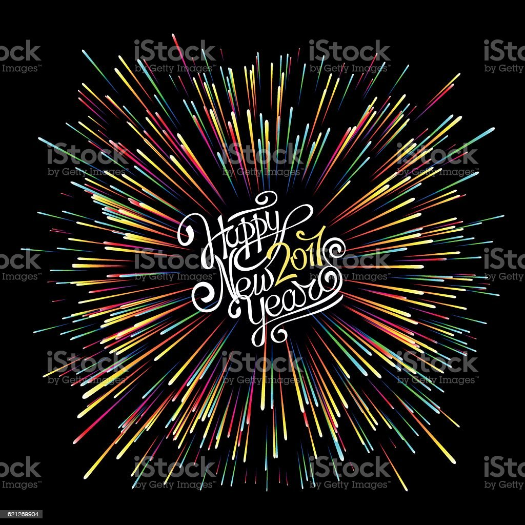 Happy New Year 2017. Hand calligraphy. Explosion of fireworks. vector art illustration