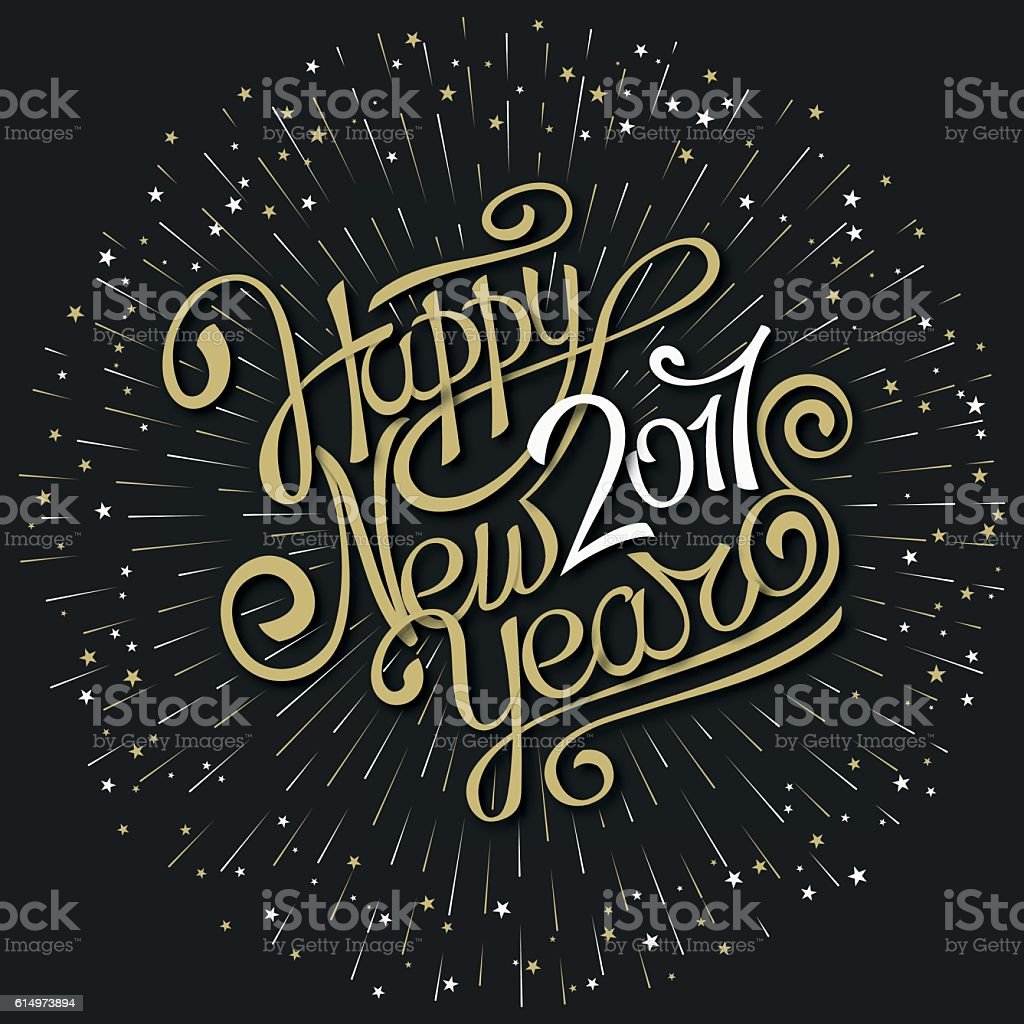 Happy new year hand calligraphy stock vector art