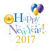 Happy New year 2017 holiday banner