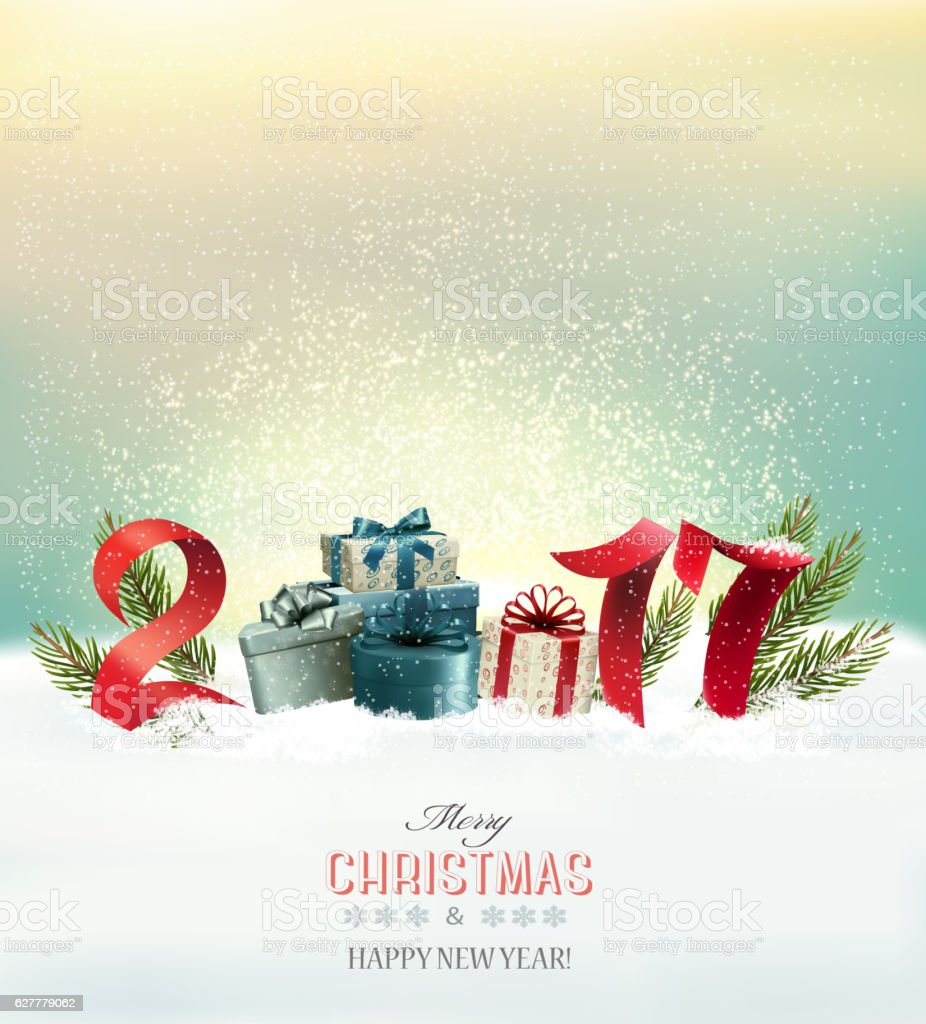 Happy new year 2017! Holiday Christmas background with gift bo vector art illustration