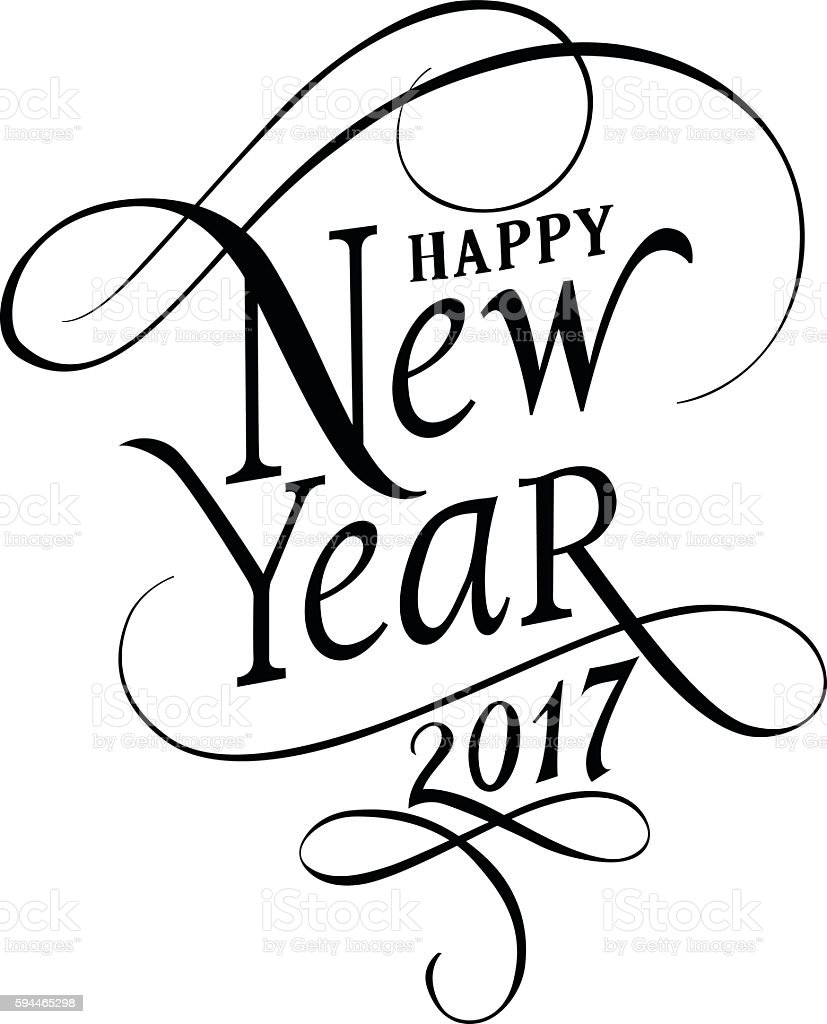 Happy New Year 2017 Lettering vector art illustration