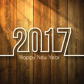 happy new year 2017 - on Wooden Background