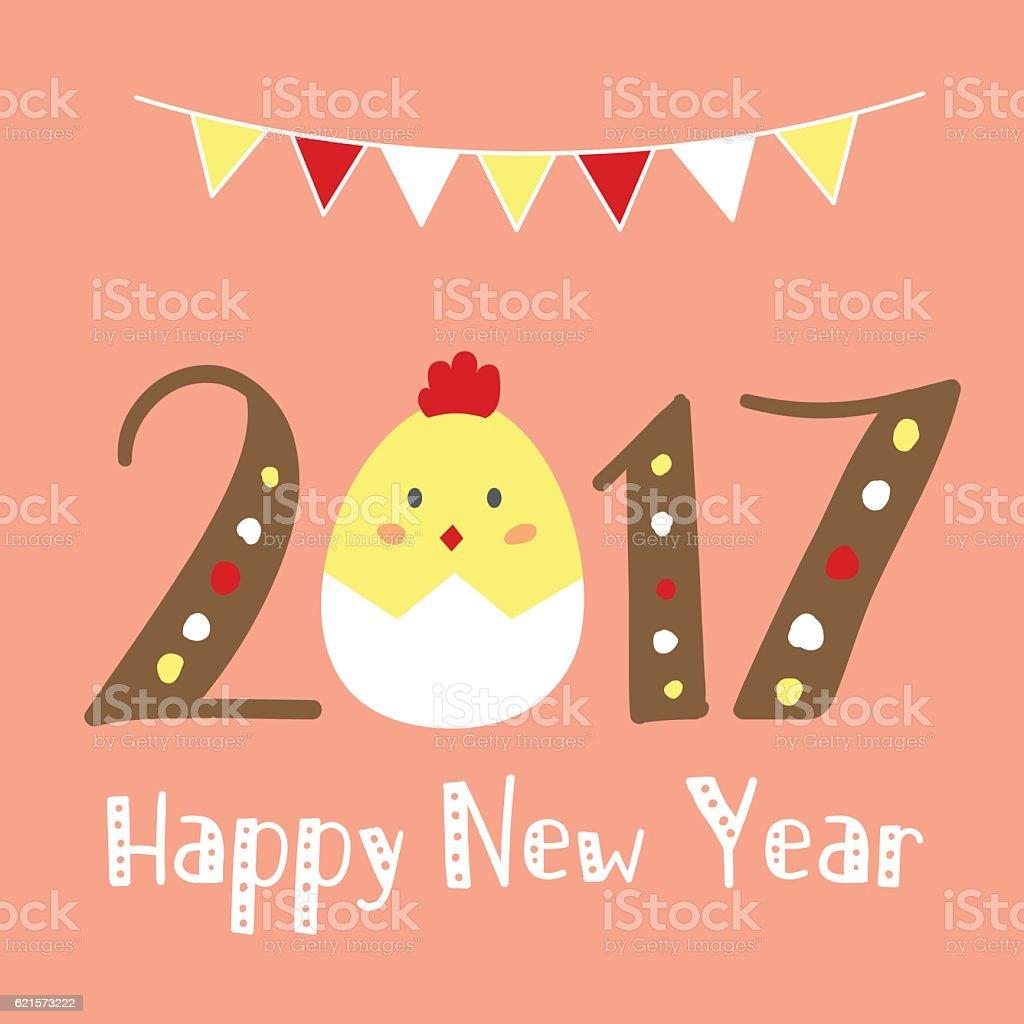 Happy New Year 2017 Season's greetings. Vector Illustration. vector art illustration