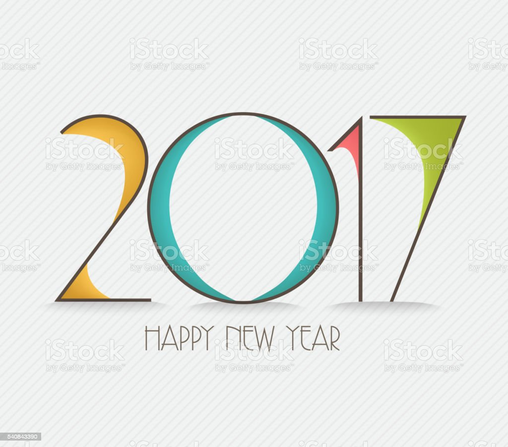 Happy new year 2017 Text Design vector art illustration
