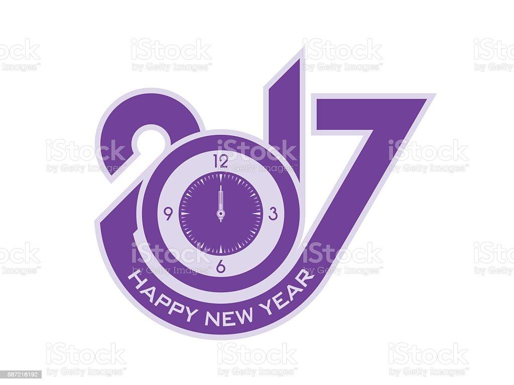 Happy New Year 2017 Typographic Design vector art illustration