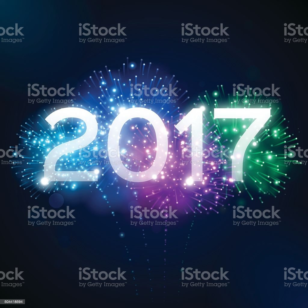 Happy New Year 2017 vector art illustration